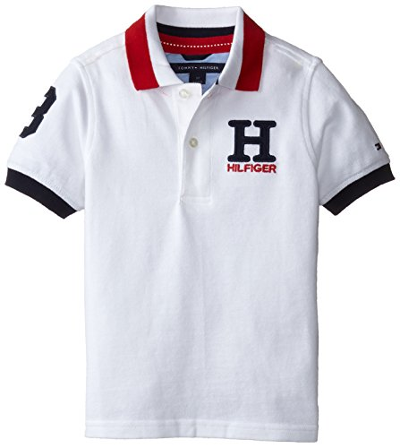 Tommy Hilfiger Little Boys' Short Sleeve Matt Polo Shirt, White, 4 (Tommy Hilfiger Boy 4)