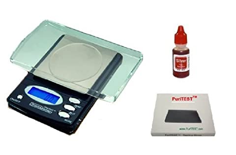 Professional Jeweler's Edition Digiweigh DW-1000BX Digital Lab Scale PLUS PuriTEST Silver Acid Tester (Purity Test); 1000g x 0.1g Brand New with Lifetime Warranty