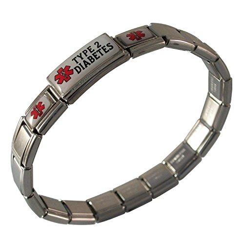 SilverAndJewelry Word Jesus Italian Charm Stainless Steel Bracelet Link