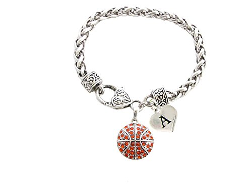 Custom Crystal Basketball Silver Bracelet Jewelry Choose Your Initial All 26 - Basketball Charm Bracelet