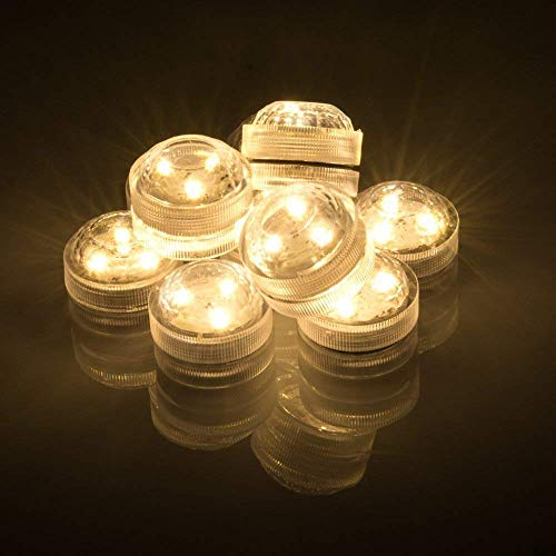 AGPtek 10PCS Warm White Submersible Round LED Candle High Brightness Tea Vase Battery Light Outdoor Garden Pond Pool Bath Disco Bar Spa Tub Decoration Wedding Xmas Floral Decoration Candles -
