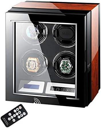 LSRRYD 高級ワインディングマシーン 腕時計自動巻き器 木製ピアノ仕上げ静音設計 LCDタッチディスプレイリモコン付き LEDライト付き 超静音 (Size : 4+0)