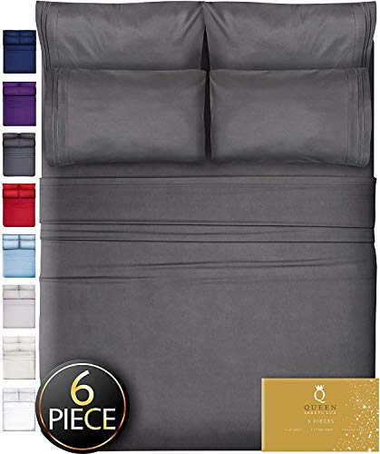DreamCare 6 Piece Deep Pocket Sheets Microfiber Sheets Bed Sheets Bedding Sets King Size, Gray