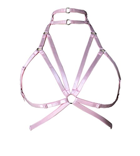Womens Body Harness Shoulder Strap Corset Harness Bra Harness Underwear Length Size can be Adjusted Carnival Punk Goth Bustier (Pink)
