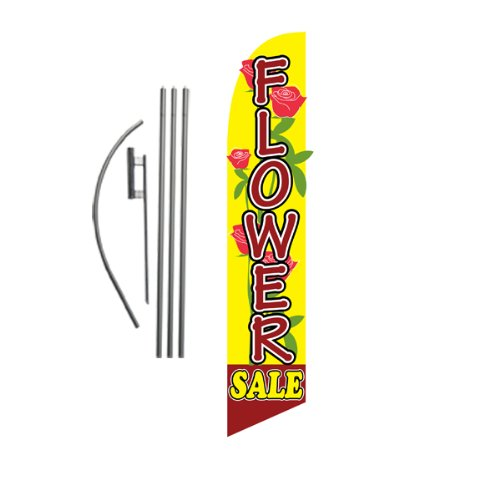 (Flower Sale Advertising Feather Banner Swooper Flag Sign with Flag Pole Kit and Ground Stake)