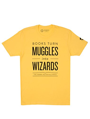 Out of Print Books Turn Muggles Into Wizards Unisex T-Shirt (Yellow) XX-Large
