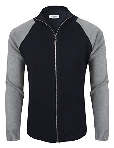 Tom's Ware Mens Stylish Colorblocked Full Zip Cardigan TWHD1016-NAVY-US L by Tom's Ware