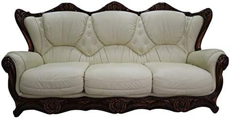 Handmade Catania 3+1+1 Cream Italian Real Leather Sofa Suite