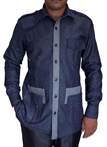 INMONARCH CrocodileHunter Costume Safari Denim Blue Cotton 4 Pocket Bush Shirts HS106XX-LARGE XX-Large Denim Blue