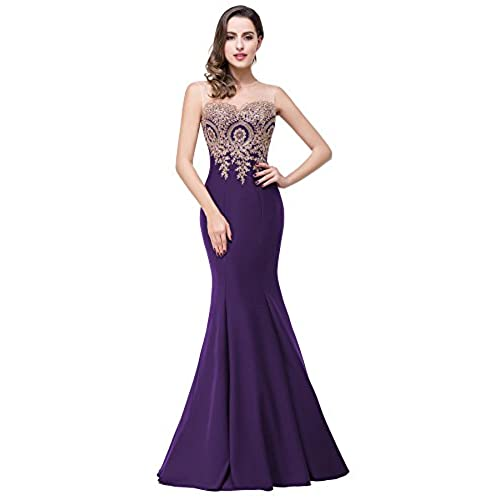 Womens Sleeveless Long Purple Lace Appliques Mermaid Evening Formal Dress, 4, Dark Purple