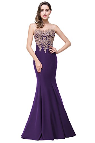 Embroidery Satin Evening Dress - Babyonlinedress Women's Embroidery Lace Long Mermaid Formal Evening Prom Dresses,Purple,14