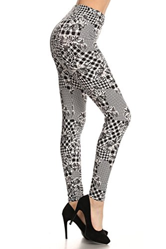 - 41Hq0rtXvPL - Print Leggings Ocrhids and Houndstooth (N532-PLUS)