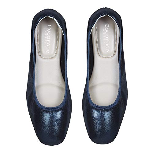Foldable Barnes Metallic Ladies Navy Leather Cocorose Shoes Ballet Pumps BpHxPPd