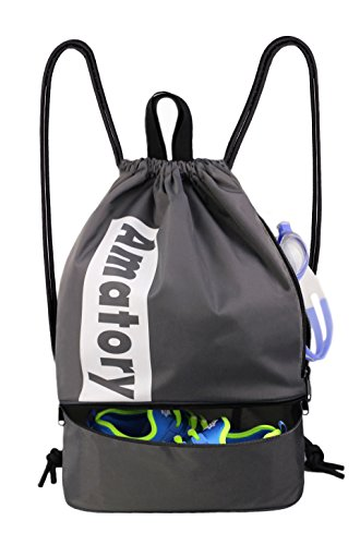 Drawstring Backpack Sports Gym String Bag Cinch Sack Waterproof Gymsack Sackpack (Gray) For Sale