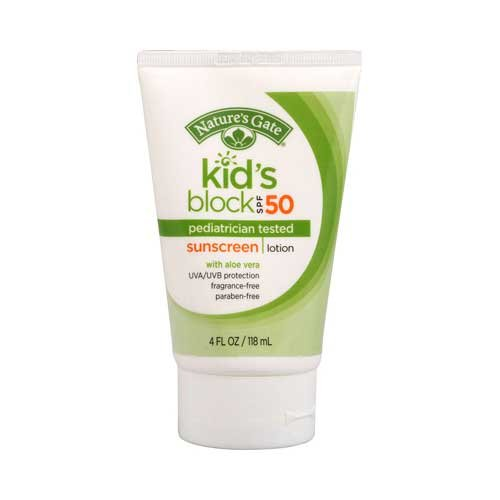 Natures Gate Kids Block SPF 50 Fragrance free Sunscreen Lotion, 4 Ounce - 6 per case.