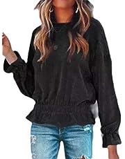 Macondoo Women Long Sleeve Ruffles Corduroy Blouse Tops T-Shirts