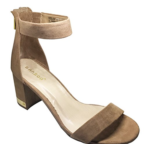 Bamboo Excellent-01S Womens wide strap and silver accent block heel Camel puErhSRdb