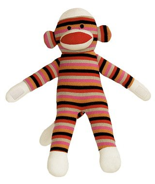 Colorful Sock Monkeys - Aurora Pink Sock Monkey with Colorful Stripes