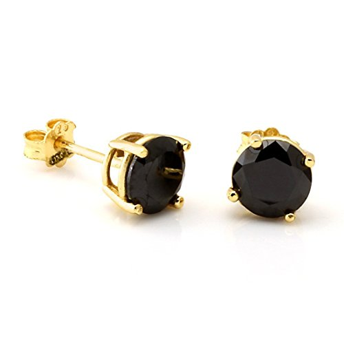 Lanroque 14K Gold Sterling Silver 6mm Round Cut Black Cubic Zirconia Stud Earrings for Men and Women