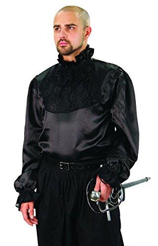 Museum Replicas Men's Renaissance Black Lace Bib jabot Shirt Halloween nobleman (Large)]()