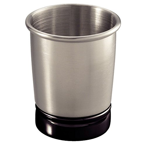 InterDesign York Tumbler Cup for Bathroom Vanity Countertops, Brushed Stainless Steel/Matte Black