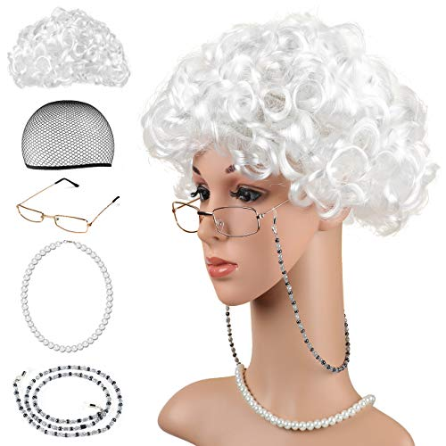 Beelittle Old Lady Costume Grandmother Cosplay Accessories Set - Granny Wig Wig Cap Glasses Pearl Necklace (B)