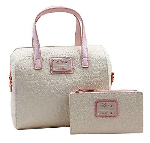 Loungefly Disney Princess Damask Debossed Duffel Handbag Wallet Set