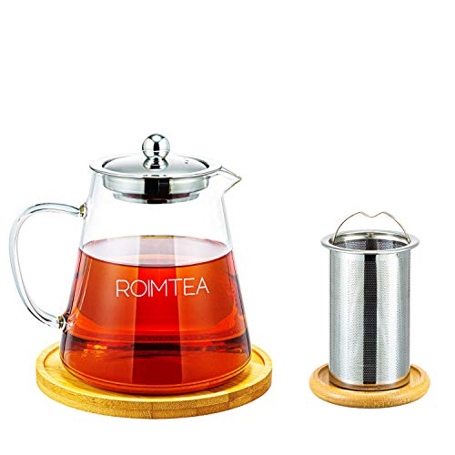 Glass Teapot Kettle Stovetop and Microwave Safe, with Removable Infuser and Matching Coaster for Loose Leaf Tea Pot and Infuser, 32oz/950ml