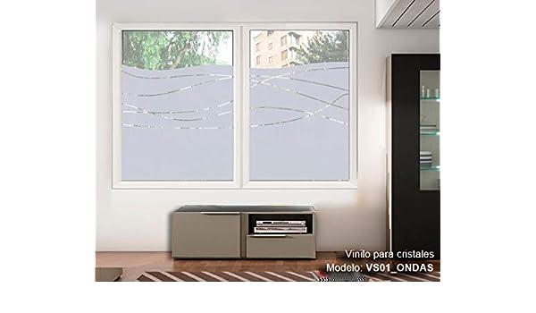 TOKPERSONAL Vinilo Adhesivo Cristales Ventanas Ref: VS01 Ondas- Material translucido Deja Pasar LA LUZ (140, 80): Amazon.es: Hogar