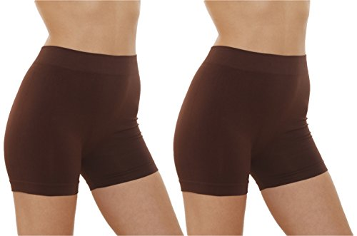 2 Pack Women's Seamless Stretch Yoga Exercise Shorts BROWN;One Size (Shorts Womens Brown)