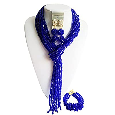 New laanc Highly Qualified Necklace Jewelry Sets Royal Blue Nigerian Wedding African Beads A-034L for cheap