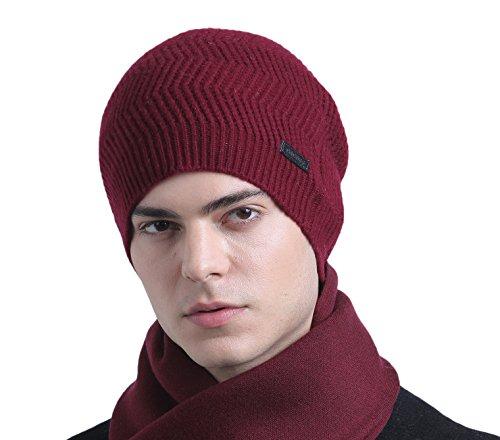 CACUSS Men's 100% Merino Wool Knit Beanie Hat - Winter Warm Headwear (One Size, Z0252Wine) - Merino Knit Hat