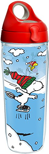 Tervis 1231819 Peanuts - Snoopy Christmas Tumbler with Wrap and Red with Gray Lid 24oz Water Bottle, Clear (Snoopy Bottle)