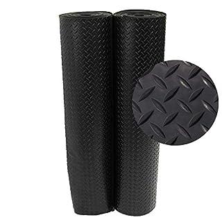 "Rubber-Cal ""Diamond-Plate Rubber Flooring Rolls - 3 mm x 4 ft x 2.5 ft Rolls - Black"