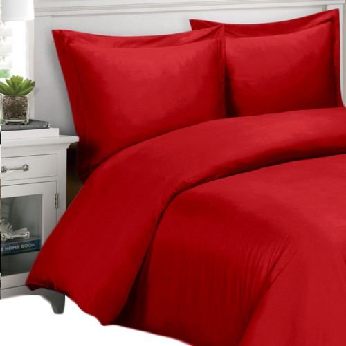 Full Bed Ensemble (Ultra Soft & Exquisitely Smooth, 100% Viscose from Bamboo 300 Thread Count Bed In a Bag, Lavish Silky Solid Bed Ensemble, 8 Piece Full Size Bed In a Bag, Red)