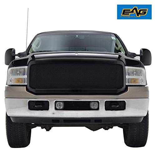 EAG Matte Black Replacement Grille Stainless Steel Mesh with ABS Shell Fit for 05-07 Ford F250/F350 Super Duty
