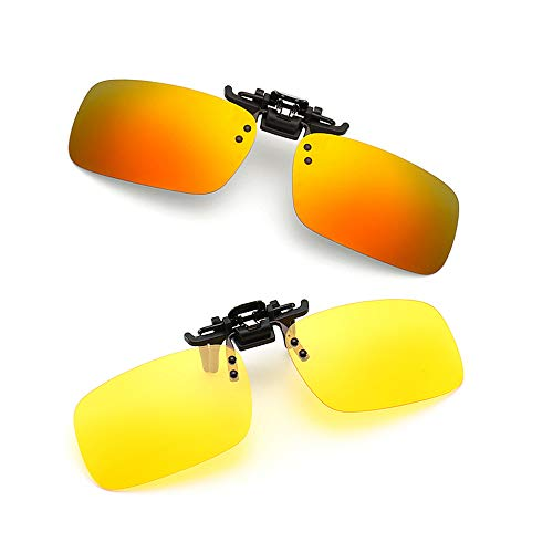 Clip-on Sunglasses 2 Pack Polarized Lens Unisex Frameless With Metal Flip Up For Driving, Outdoor Sports & Holidays (ORANGE-RED + NIGHT DRIVING VISION)