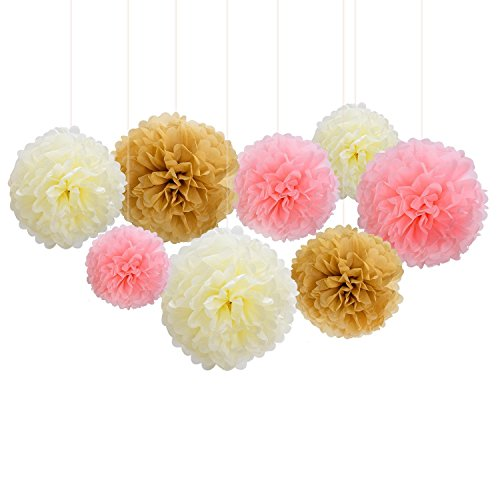 Lansian 30PCS Tissue Paper Pom Pom Flowers Pink White Gold Tassel Garland Banner for Wedding Bridal Birthday Graduation Baby Shower Decorations Party Supplies by Lansian (Image #3)