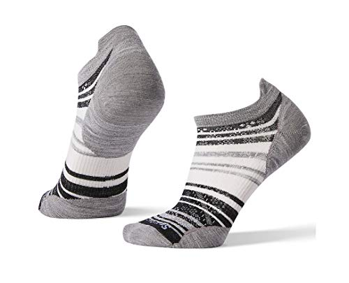 Smartwool Women's PhD Run Ultra Light Striped Micro Light Gray Medium