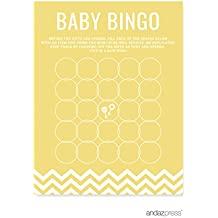 Andaz Press Yellow Chevron Gender Neutral Baby Shower Collection, Games, Activities, Decorations, Baby Bingo Game Cards, 20-pack