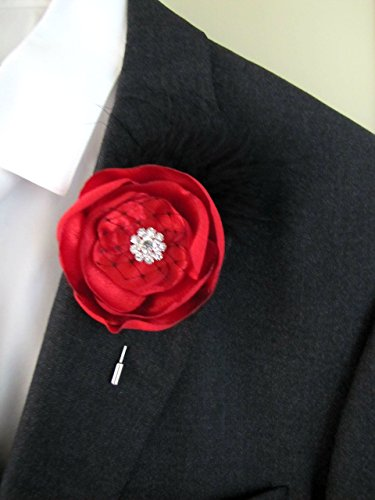 Red Gatsby Boutonniere, Fabric Flower Feather Buttonhole Keepsake, Wedding Groom Prom Lapel Pin Feather Groom