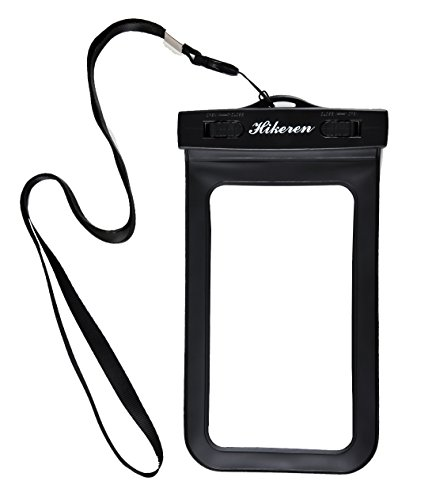 Waterproof Phone Case,Hikeren Black 5.5 Inches Waterproof Cellphone with **a Hook **for Apple iPhone 6s, 6 Plus