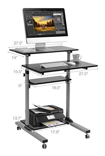 Mobile Standing Desk - TechOrbits Rolling Workstation Cart - Stand Up Media Podium Mobile Desk - Height Adjustable Presentation Computer Cart by TechOrbits (Image #2)
