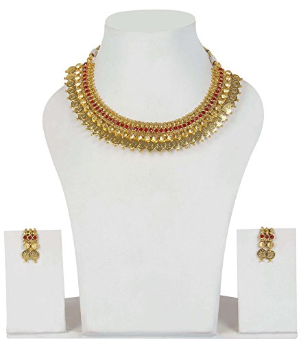 Asian Set Necklace (Asian Ethnic Style Fabulous Gold Tone Ruby Stone Polki Necklace Set Partywear Indian)