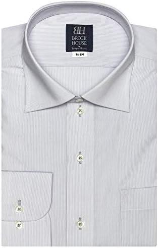 ブリックハウス ワイシャツ 長袖 形態安定 ワイド 標準体 メンズ BM010100AA12W1A-30 クロ・グレー M-84