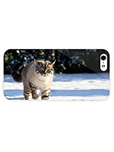3d Full Wrap Case for iPhone 5/5s Animal Cat Walking Through The Snow