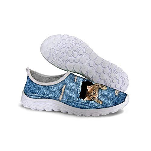 Keppel shoe Unisex Stylish Cute Cat Dog Owl Animal Pattern Mesh Comfortable Slip On Running Shoes
