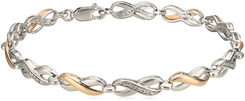 10k Bracelet Gold Tone Two (10k Rose Gold and Sterling Silver Two Tone Infinity Bracelet (1/10cttw))