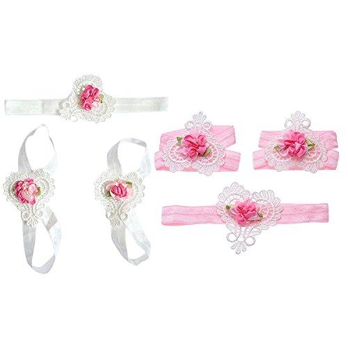 Flower Baby Girl' s Hairbands e motivo a cuori calzature scarpe del neonato sandali set rosa rosa bALep