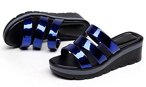 De Verano Moda Pendiente Planas Sandalias Mujer En Mujeres Zapatillas Las Y Cómodo Antideslizantes Blue La Con Deep Tamaño Gran drwrEq